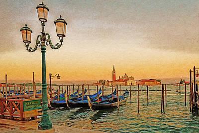 Digital Art - San Giorgio Maggiore Venice Gondolas by Anthony Murphy