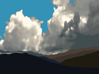 Digital Art - San Jacintos With Cumulonimbus by Stan  Magnan