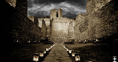 Luminaria Photograph - San Jose De Los Jemez Church by Tony Lopez