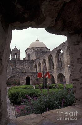 Photograph - San Jose Mission Courtyard San Antonio Texas  by John  Mitchell