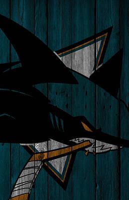 Digital Art - San Jose Sharks Wood Fence by Joe Hamilton