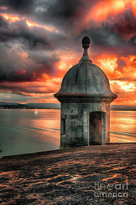 San Juan Bay Sunset With A Sentry Post Art Print by George Oze