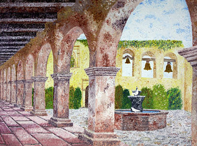 Historic Architecture Painting - San Juan Capistrano Courtyard by Laura Iverson