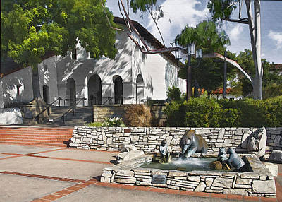 Digital Art - San Luis Mission Fountain by Sharon Foster