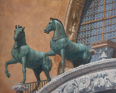 Classical Realism Painting - San Marco Horses by Swann Smith