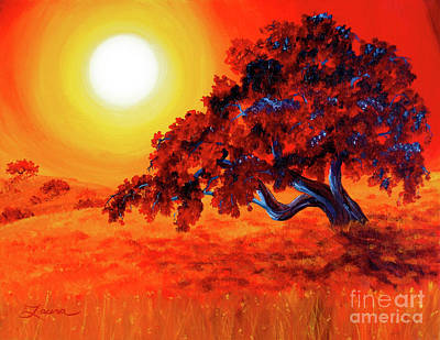 Fantasy Tree Art Painting - San Mateo Oak In Bright Sunset by Laura Iverson