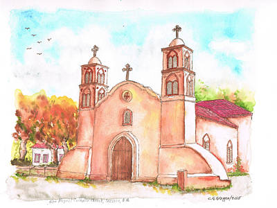 Miguel Drawings Painting - San Miguel Catholic Church, Socorro, New Mexico by Carlos G Groppa