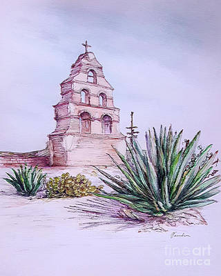 Drawing - San Miguel Mission, Bell Tower by Danuta Bennett