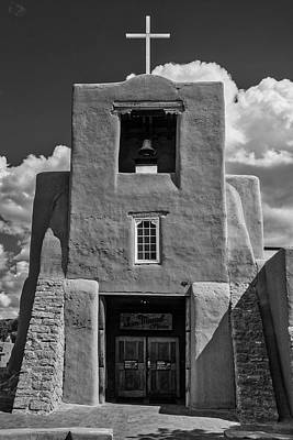 Photograph - San Miguel Mission Black And White by Garry Gay