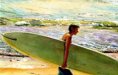 Surfing Art Painting - San O Man by Kathy Dueker