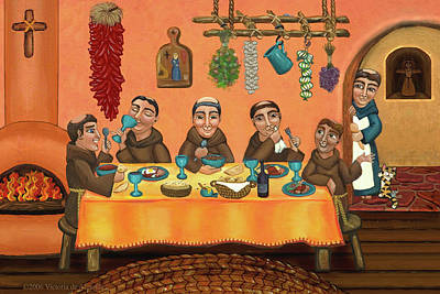 Saint Of Cooks Painting - San Pascuals Table 2 by Victoria De Almeida