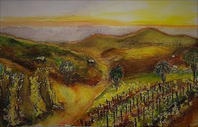 San Pasqual Painting - San Pasqual Valley At Sunset by Karen Trout