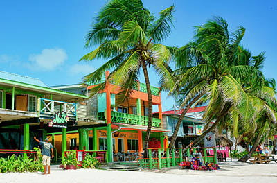 Photograph - San Pedro Beach Storefronts Ambergris Caye Belize by Waterdancer