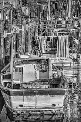 Photograph - San Pedro Fishing Boats Bw by David Zanzinger