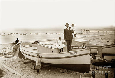 Photograph - San Pierro Fishing Boat On Monterey Beach Circa 1908 by California Views Mr Pat Hathaway Archives