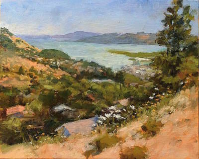 Painting - San Rafael Bay From Via La Cumbre, Greenbrae, Ca by Peter Salwen