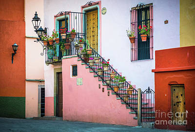 Streetlight Photograph - San Roque Stairs by Inge Johnsson