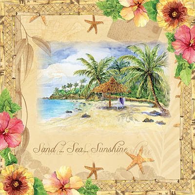 Vintage Map Painting - Sand Sea Sunshine On Tropical Beach Shores by Audrey Jeanne Roberts