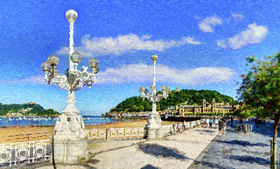 Photograph - San Sebastian Streetlights - Painting by Weston Westmoreland