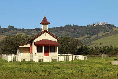 Print featuring the photograph San Simeon - Castle And Schoolhouse by Art Block Collections