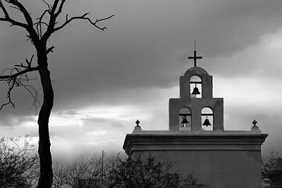Photograph - San Xavier Bell Tower 5 Bw by Mary Bedy