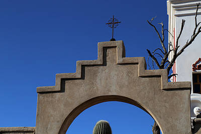 Photograph - San Xavier Cross And Arch by Mary Bedy