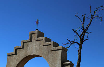 Photograph - San Xavier Cross And Tree by Mary Bedy