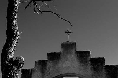 Photograph - San Xavier Cross Arch And Tree Bw by Mary Bedy