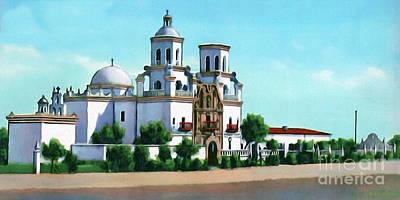 San Xavier Digital Art - San Xavier Del Bac Mission by Walter Colvin