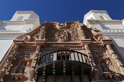 Photograph - San Xavier Facade Detail by Mary Bedy