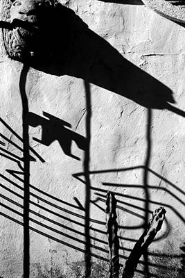 Photograph - San Xavier Gate Shadow With Cactus 1 Bw by Mary Bedy