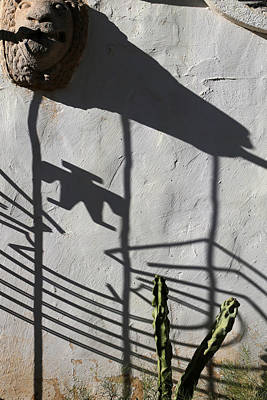 Photograph - San Xavier Gate Shadow With Cactus 1 by Mary Bedy
