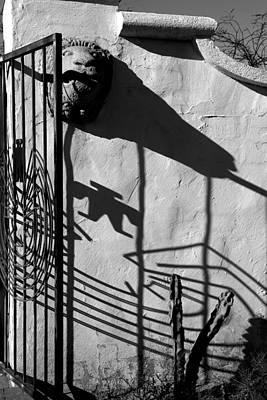 Photograph - San Xavier Gate Shadow With Cactus 2 Bw by Mary Bedy