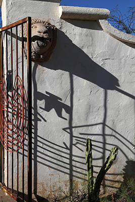 Photograph - San Xavier Gate Shadow With Cactus 2 by Mary Bedy