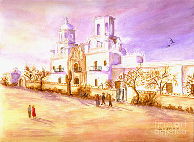 Art Print featuring the painting San Xavier by Judy Filarecki