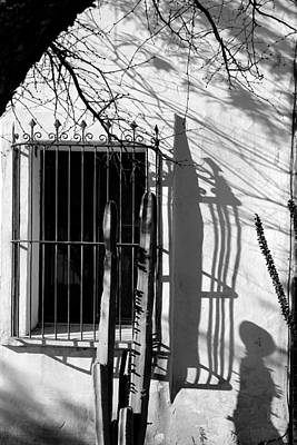 Photograph - San Xavier Window And Shadows 1 Bw by Mary Bedy