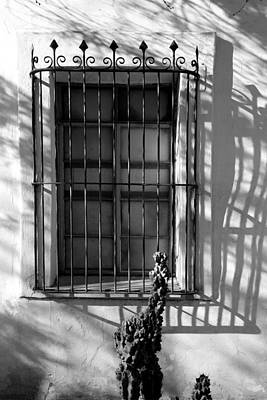 Photograph - San Xavier Window And Shadows 2 Bw by Mary Bedy