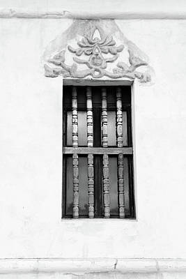 Photograph - San Xavier Window Detail Bw by Mary Bedy