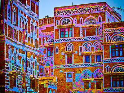 Sanaa Houses At Dusk Yemen Original by Michael Robert Powell