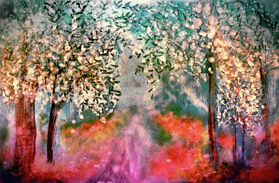 Pear Tree Painting - Sanctuary In The Realm Of The Imagination by Susan Maxwell Schmidt
