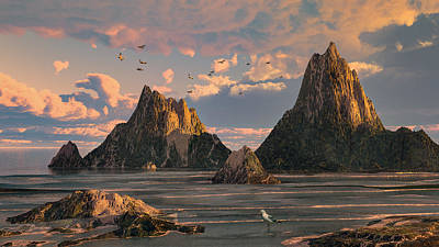 Digital Art - Sanctuary Island 2 by Mary Almond