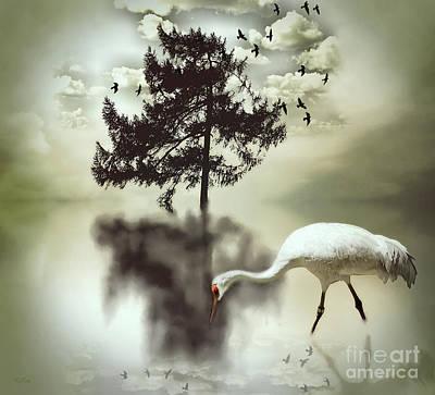 Crane Mixed Media - Sanctuary by KaFra Art