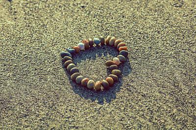 Photograph - Sand Beach Heart Love Symbol Wall Art by Wall Art Prints