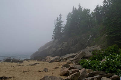 Sand Beach In A Fog Art Print