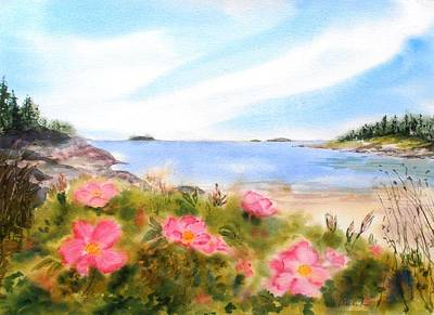 Painting - Sand Beach Roses by Diane Kirk