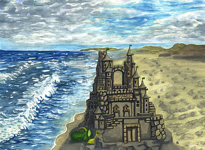Painting - Sand Castle On The Beach by Long Studios