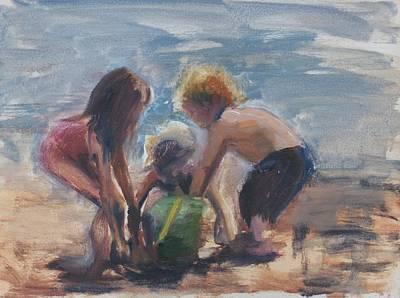 Sand Castles Art Print by Denise Lockhart Bush