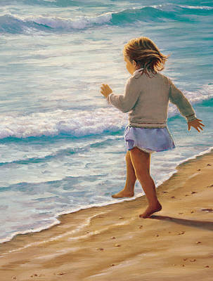 Little Girl On Beach Painting - Sand Dancer by Susan Rinehart