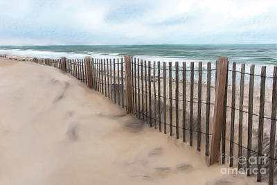 Sand Dune Fence On Outer Banks Ap Art Print