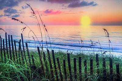 Photograph - Sand Dune Fences by Debra and Dave Vanderlaan
